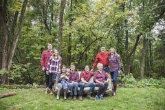Het portret van de vier generatiesfamilie stock foto's