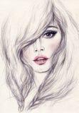 Het portret van de vrouw Abstracte waterverf De achtergrond van de manier stock foto's