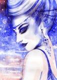 Het portret van de vrouw Abstracte waterverf De achtergrond van de manier Royalty-vrije Stock Foto's
