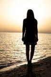 Het portret van de vrouw als silhouet Stock Afbeeldingen