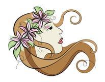 Het portret van de vrouw bloemen royalty-vrije illustratie