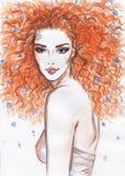 Het portret van de vrouw De achtergrond van de manier Royalty-vrije Stock Foto