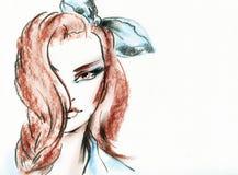 Het portret van de vrouw De achtergrond van de manier Royalty-vrije Stock Afbeeldingen