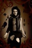 Het portret van de vrouw, grunge stijl Stock Fotografie
