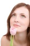 Het portret van de vrouw met bloem Royalty-vrije Stock Afbeelding