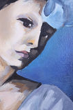 Het portret van de vrouw, olieverfschilderij Stock Afbeelding