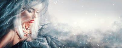 Het Portret van de Vrouw van de schoonheid De wintermake-up en kapsel Stock Foto's