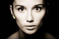 Het portret van de vrouw in sepia stijl. Stock Fotografie