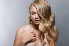 Het Portret van de Vrouw van de schoonheid Beautiful Spa Meisjes Perfecte Verse Huid Naakte samenstelling Royalty-vrije Stock Afbeeldingen