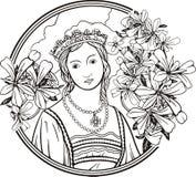 Het portret van de vrouw, vector Stock Afbeeldingen