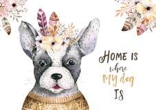 Het portret van de waterverfclose-up van leuke hond Geïsoleerdj op witte achtergrond Hand getrokken zoet huishuisdier Het dier va vector illustratie