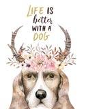 Het portret van de waterverfclose-up van leuke hond Geïsoleerdj op witte achtergrond Hand getrokken zoet huishuisdier Het dier va stock illustratie