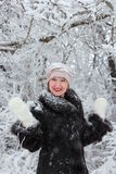 Het portret van de winter van een meisje Stock Afbeelding