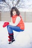 Het portret van de winter van een meisje Royalty-vrije Stock Afbeeldingen