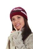 Het portret van de winter van een vrouw stock afbeelding