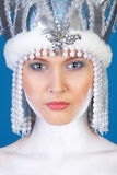 Het portret van de winter van schoonheidsmeisje over blauw Royalty-vrije Stock Afbeelding