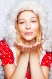 Het portret van de winter van vlokken van de vrouwen de blazende sneeuw Stock Fotografie