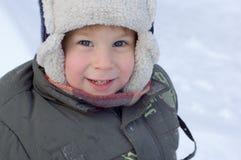 Het portret van de winter van weinig jongen Royalty-vrije Stock Foto