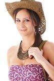 Het portret van de zomer van het jonge vrouw glimlachen Stock Afbeeldingen