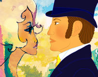 Het portret van een houdend van paar voerde op contrast van grafiek uit Royalty-vrije Stock Afbeeldingen