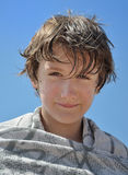 Het portret van een kind na zwemt Stock Foto