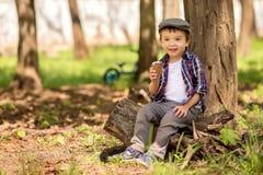 Het portret van een kleine zitting van de peuterjongen onder boom in het park op boom stampt en etend groot roomijs Het jonge gei stock fotografie