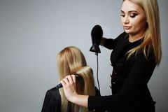 Het portret van een meisjeskapper droogt haar met een hairdryer in schoonheidssalon stock foto