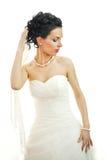 Het portret van een mooie vrouw kleedde zich als bruid. Royalty-vrije Stock Foto