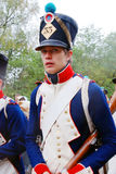 Het portret van een reenactor kleedde zich als Napoleonic oorlogsmilitair Royalty-vrije Stock Fotografie
