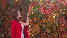Het portret van een schitterend meisje in een kleding en een rood bedekken en in een de herfstpark met een laag stock video