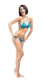 Het portret van gemiddelde lengte van meisje die bikini dragen stock afbeeldingen