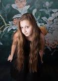 het portret van het 10 éénjarigenmeisje Stock Fotografie
