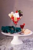 Het Portret van het Dessert van de Kers van de valentijnskaart Stock Fotografie