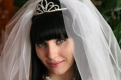 Het portret van het gezicht van een bruid stock afbeelding