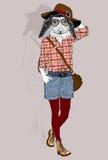 Het portret van het manierkonijn Stock Foto