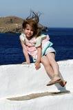 Het portret van het meisje in de zomer Stock Foto's