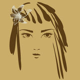 Het portret van het meisje met bloem Stock Afbeelding