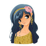 Het Portret van het meisje met Bloemen Stock Foto