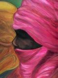 Het portret van het olieverfschilderij van Tuareg. royalty-vrije illustratie