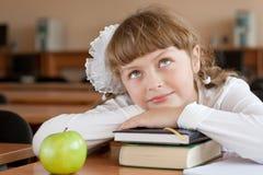 Het portret van het schoolmeisje bij schoolbank Stock Foto's