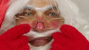 Het portret van het kerstmanclose-up stock videobeelden
