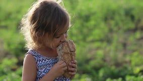 Het portret van meisje het eten homebaked brood op het gebied van organisch ecolandbouwbedrijf stock videobeelden