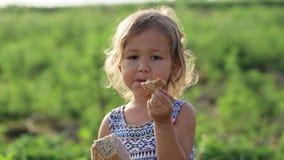 Het portret van meisje het eten homebaked brood op het gebied van organisch ecolandbouwbedrijf stock video