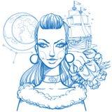 Het portret van het meisje symboliseert Kanker van het dierenriemteken Overzichtstekening voor het kleuren vector illustratie