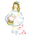 Het portret van meisje in witte kleding met bloemen in blondehaar die en verspreidende bloemblaadjes van rood nam van mand toe lo Stock Foto