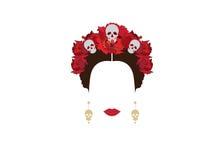 Het portret van Mexicaanse vrouw met schedels en rode bloemen, inspiratie Santa Muerte in Mexico en Catrina, vectorillustratie is Royalty-vrije Stock Foto