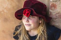 Het Portret van Red Hat van het meisje Royalty-vrije Stock Fotografie