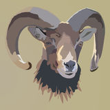 Het portret van schapen Vector geïllustreerd Portret van Ram of schapen Stock Afbeeldingen