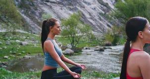 Het portret van twee dames die yogameditatie uitoefenen stelt in het midden van aard met verbazende mening die zij hebben geslote stock videobeelden