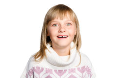 Het portret van verbaasd preteen meisje over wit Stock Afbeeldingen